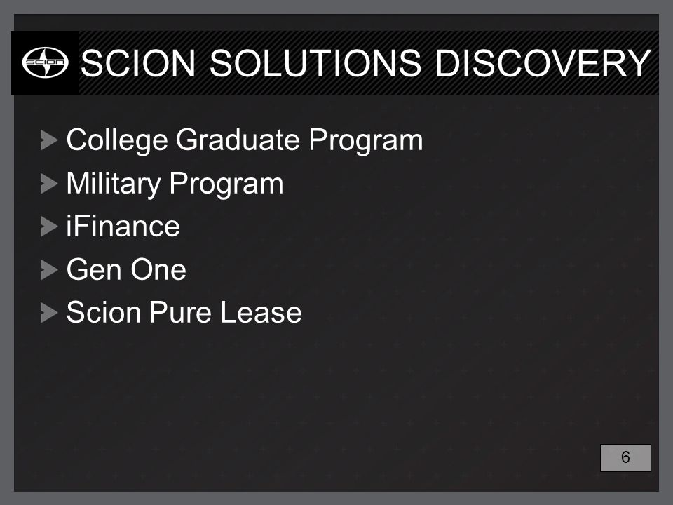 SCION SOLUTIONS DISCOVERY College Graduate Program Military Program iFinance Gen One Scion Pure Lease 6