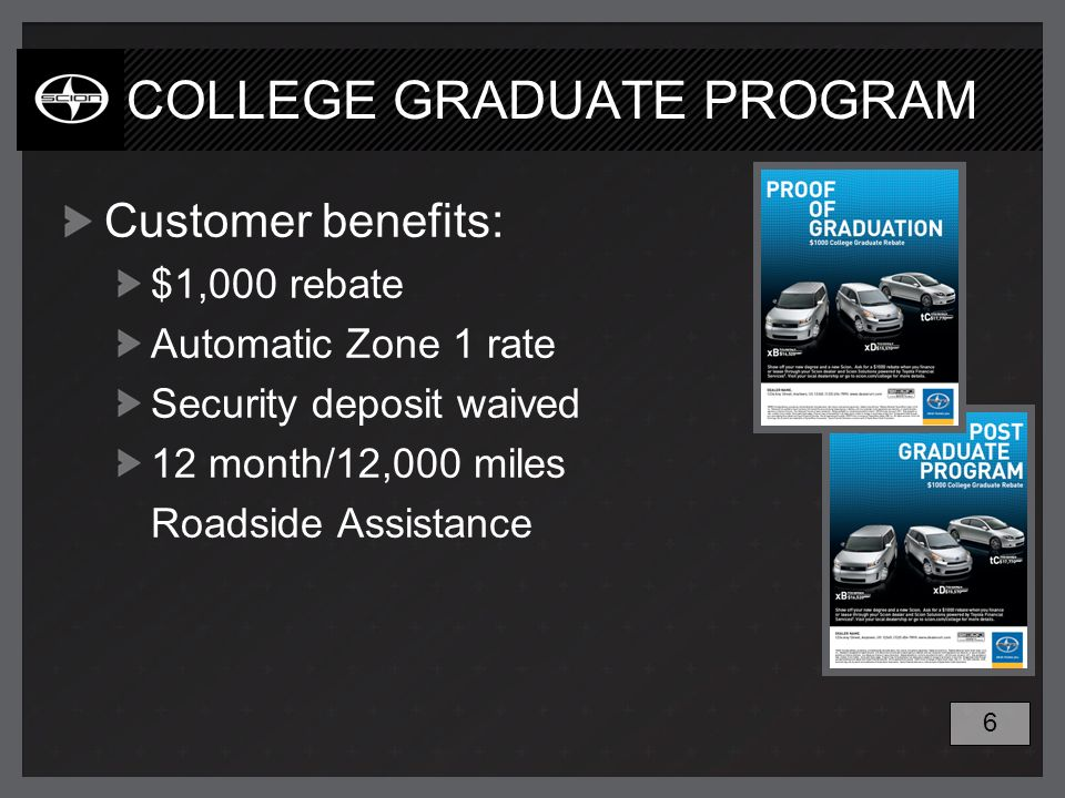 COLLEGE GRADUATE PROGRAM Customer benefits: $1,000 rebate Automatic Zone 1 rate Security deposit waived 12 month/12,000 miles Roadside Assistance 6