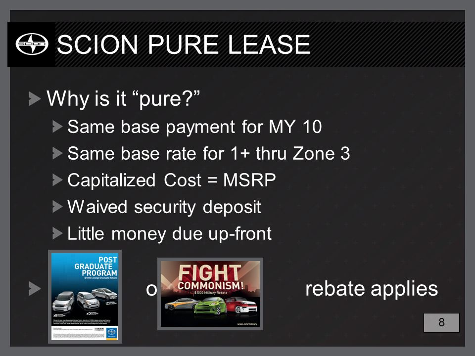 SCION PURE LEASE Why is it pure.