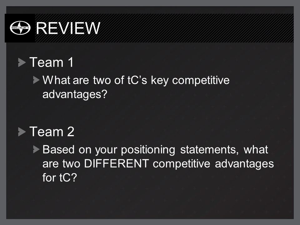 REVIEW Team 1 What are two of tCs key competitive advantages.