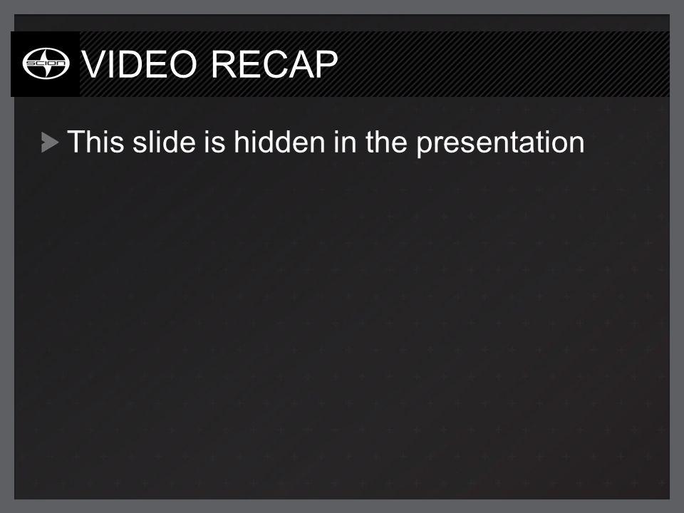 VIDEO RECAP This slide is hidden in the presentation