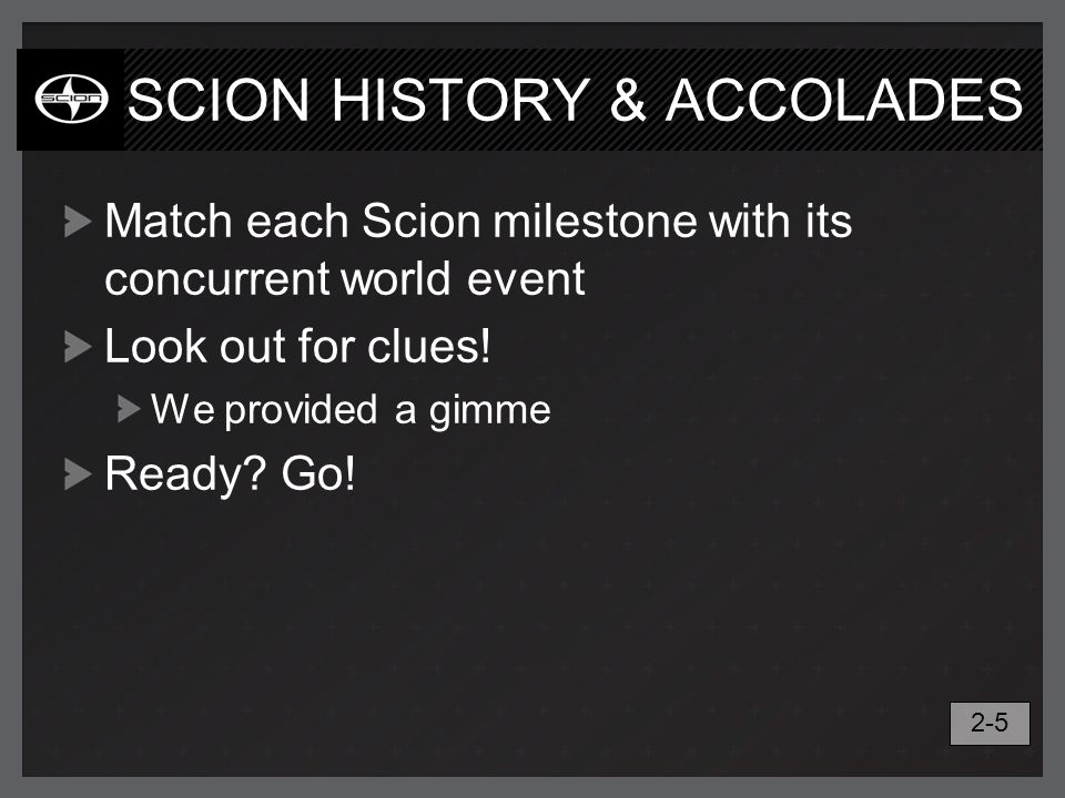 SCION HISTORY & ACCOLADES Match each Scion milestone with its concurrent world event Look out for clues! We provided a gimme Ready? Go! 2-5