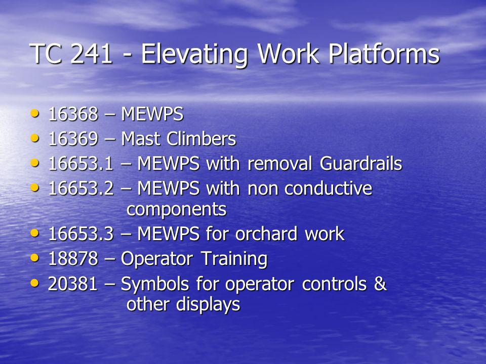 TC 241 - Elevating Work Platforms 16368 – MEWPS 16368 – MEWPS 16369 – Mast Climbers 16369 – Mast Climbers 16653.1 – MEWPS with removal Guardrails 16653.1 – MEWPS with removal Guardrails 16653.2 – MEWPS with non conductive components 16653.2 – MEWPS with non conductive components 16653.3 – MEWPS for orchard work 16653.3 – MEWPS for orchard work 18878 – Operator Training 18878 – Operator Training 20381 – Symbols for operator controls & other displays 20381 – Symbols for operator controls & other displays