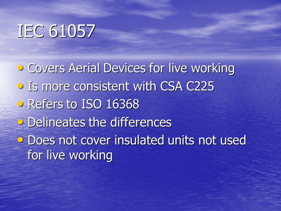 IEC 61057 Covers Aerial Devices for live working Covers Aerial Devices for live working Is more consistent with CSA C225 Is more consistent with CSA C225 Refers to ISO 16368 Refers to ISO 16368 Delineates the differences Delineates the differences Does not cover insulated units not used for live working Does not cover insulated units not used for live working