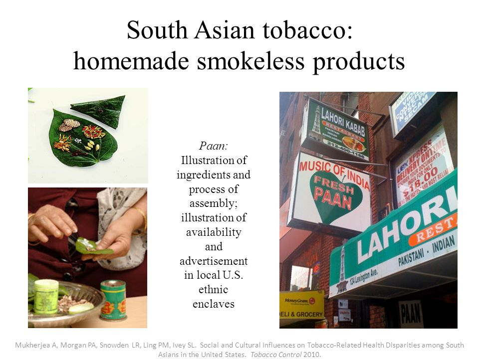 South Asian tobacco: homemade smokeless products Paan: Illustration of ingredients and process of assembly; illustration of availability and advertisement in local U.S.