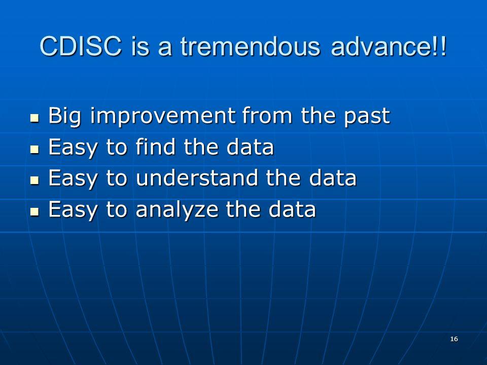 16 CDISC is a tremendous advance!! Big improvement from the past Big improvement from the past Easy to find the data Easy to find the data Easy to und