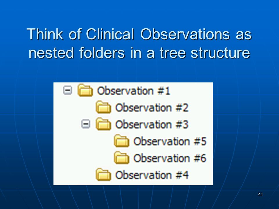 23 Think of Clinical Observations as nested folders in a tree structure