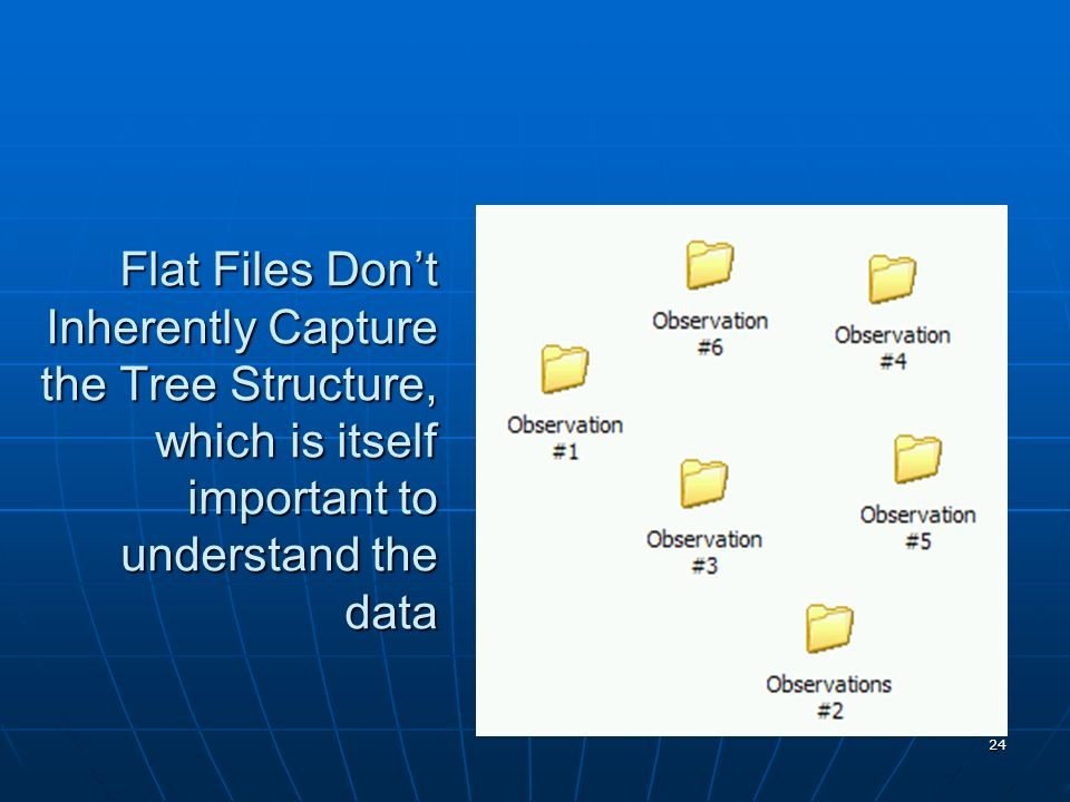 24 Flat Files Dont Inherently Capture the Tree Structure, which is itself important to understand the data