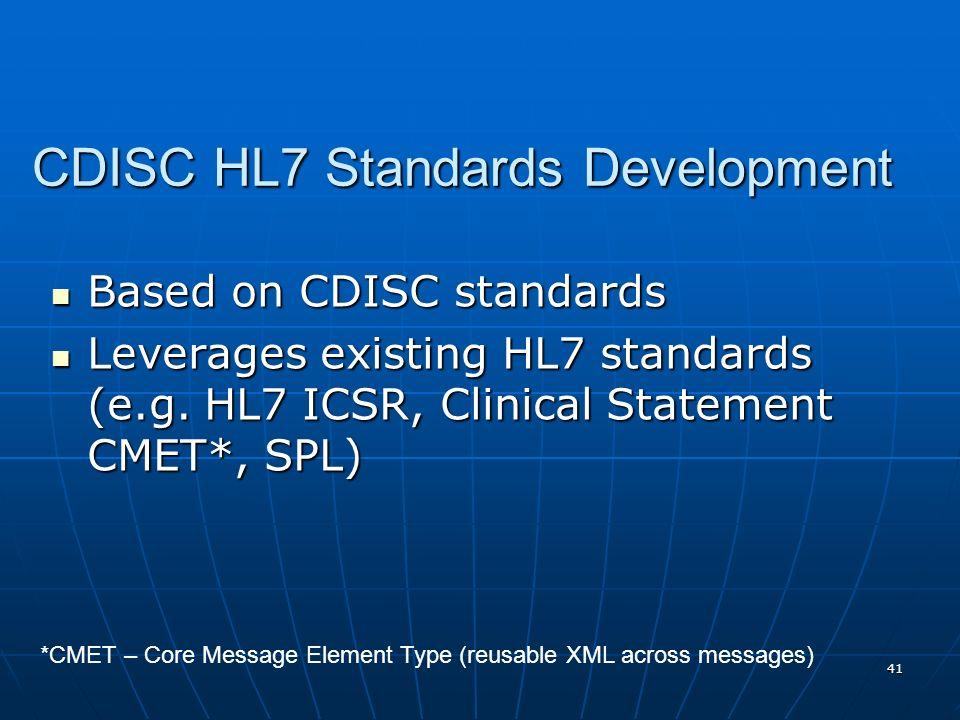 41 CDISC HL7 Standards Development Based on CDISC standards Based on CDISC standards Leverages existing HL7 standards (e.g. HL7 ICSR, Clinical Stateme