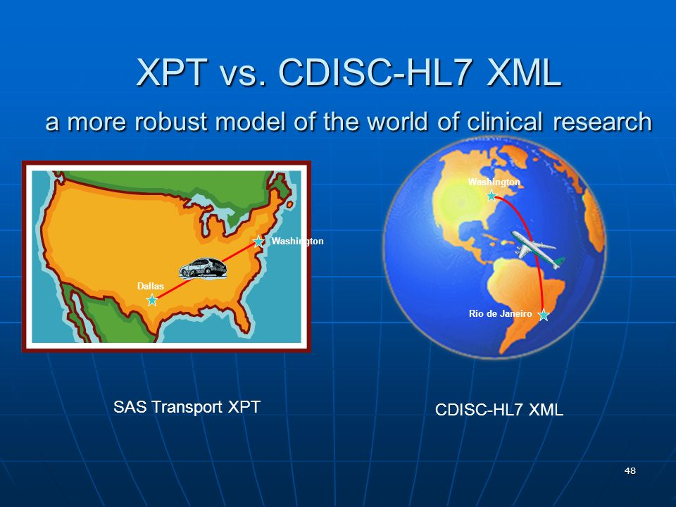 48 XPT vs. CDISC-HL7 XML a more robust model of the world of clinical research SAS Transport XPT CDISC-HL7 XML Washington Dallas Washington Rio de Jan