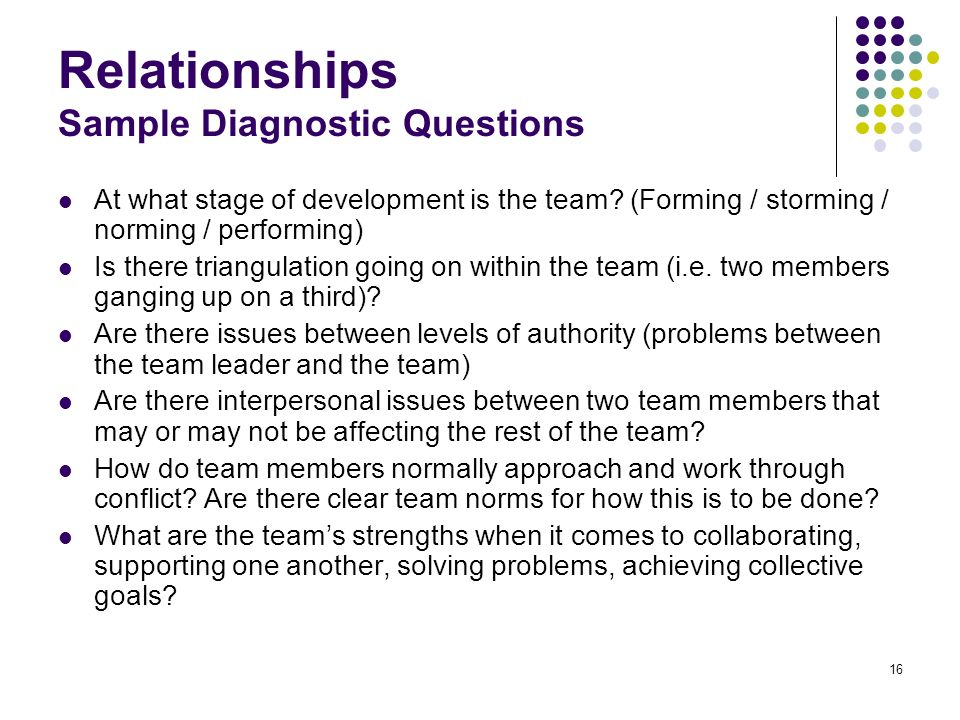 16 Relationships Sample Diagnostic Questions At what stage of development is the team? (Forming / storming / norming / performing) Is there triangulat