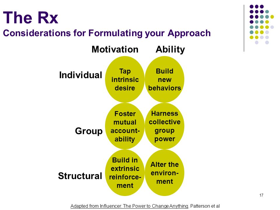 17 The Rx Considerations for Formulating your Approach Foster mutual account- ability Harness collective group power Build in extrinsic reinforce- men
