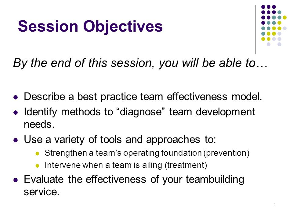 2 Session Objectives By the end of this session, you will be able to… Describe a best practice team effectiveness model. Identify methods to diagnose