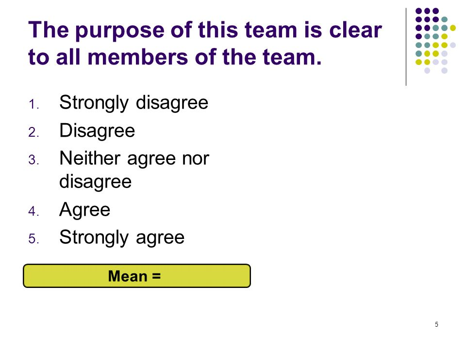 5 The purpose of this team is clear to all members of the team. 1. Strongly disagree 2. Disagree 3. Neither agree nor disagree 4. Agree 5. Strongly ag