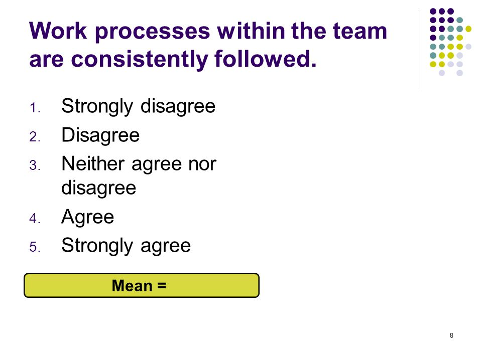 8 Work processes within the team are consistently followed. 1. Strongly disagree 2. Disagree 3. Neither agree nor disagree 4. Agree 5. Strongly agree
