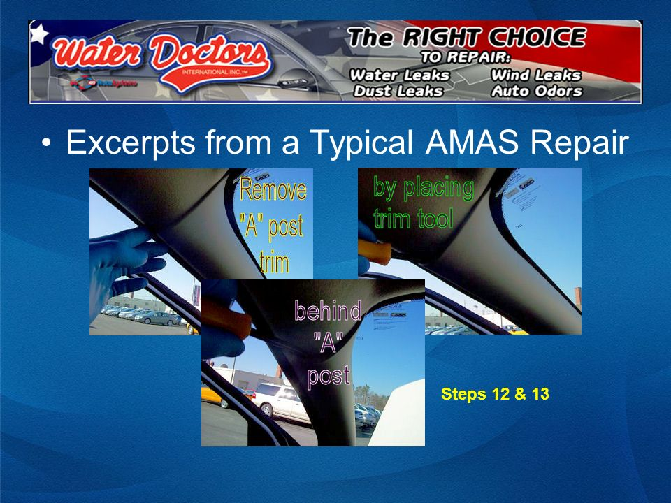 Excerpts from a Typical AMAS Repair Steps 12 & 13