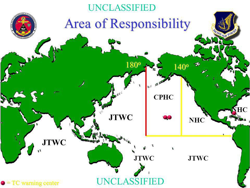 UNCLASSIFIED Area of Responsibility 180 o JTWC CPHC 140 o JTWC NHC = TC warning center JTWC
