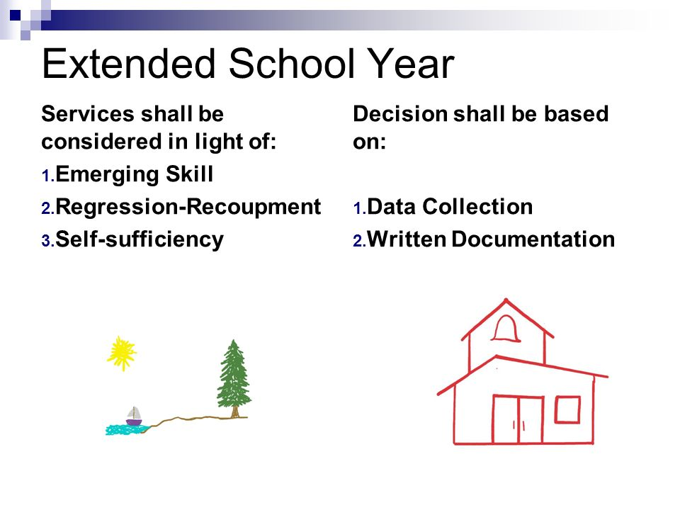 Extended School Year Services shall be considered in light of: 1. Emerging Skill 2. Regression-Recoupment 3. Self-sufficiency Decision shall be based