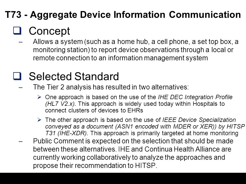 15 C74 - Remote Monitoring Observation Document Concept –Specifies the medical information collected by remote health monitoring devices, based upon H