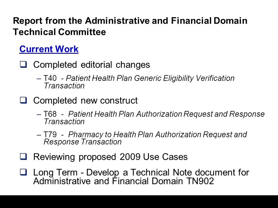 56 Report from the Care Management & Health Records Domain Technical Committee