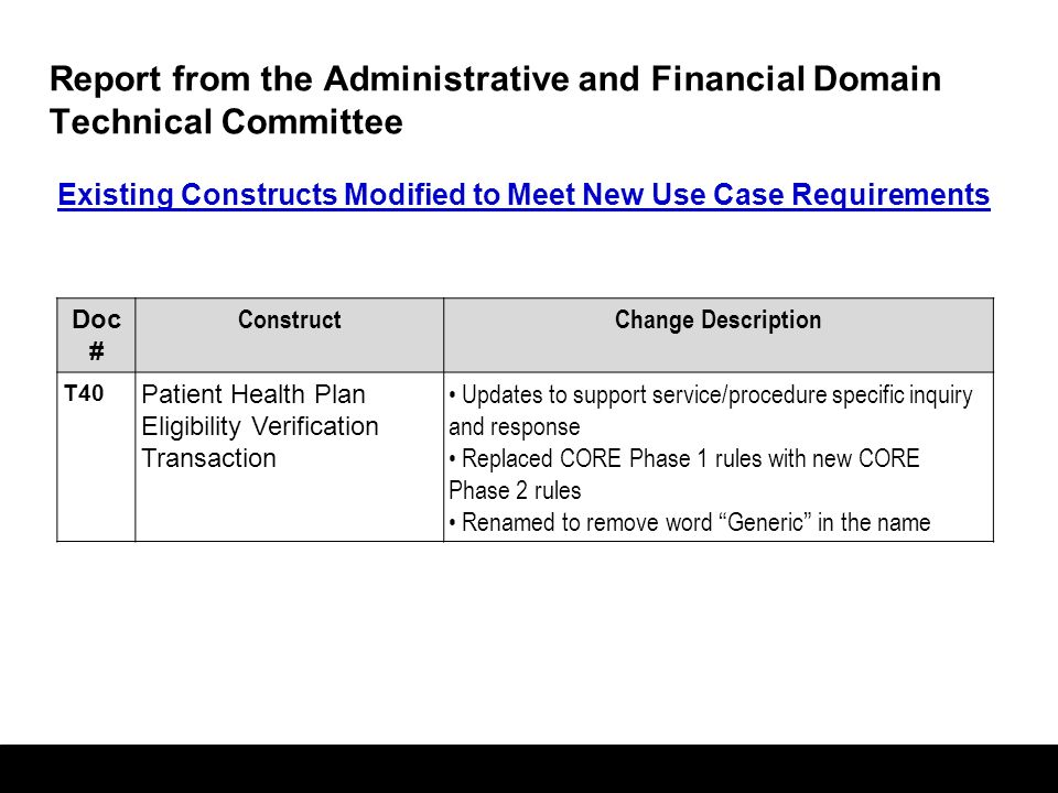 58 Report from the Administrative and Financial Domain Technical Committee HITSP Doc # TITLE 2008 Use Cases 2007 Use Case RMON IS77 PPSM PHC IS08 CTC