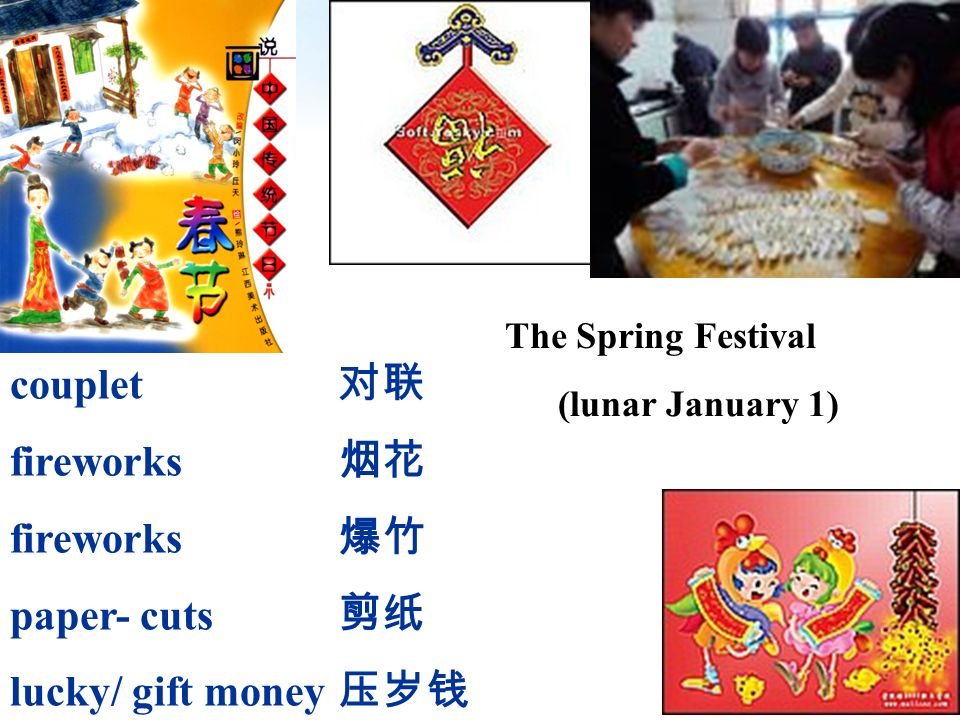 The Spring Festival (lunar January 1) couplet fireworks paper- cuts lucky/ gift money