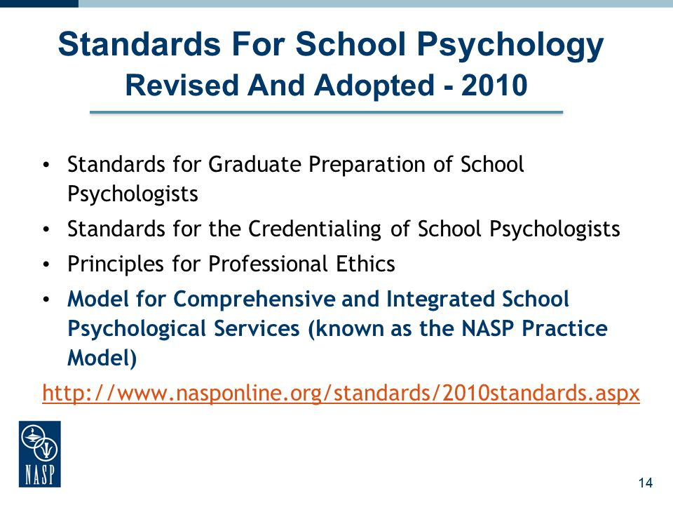 14 Standards For School Psychology Revised And Adopted - 2010 Standards for Graduate Preparation of School Psychologists Standards for the Credentiali