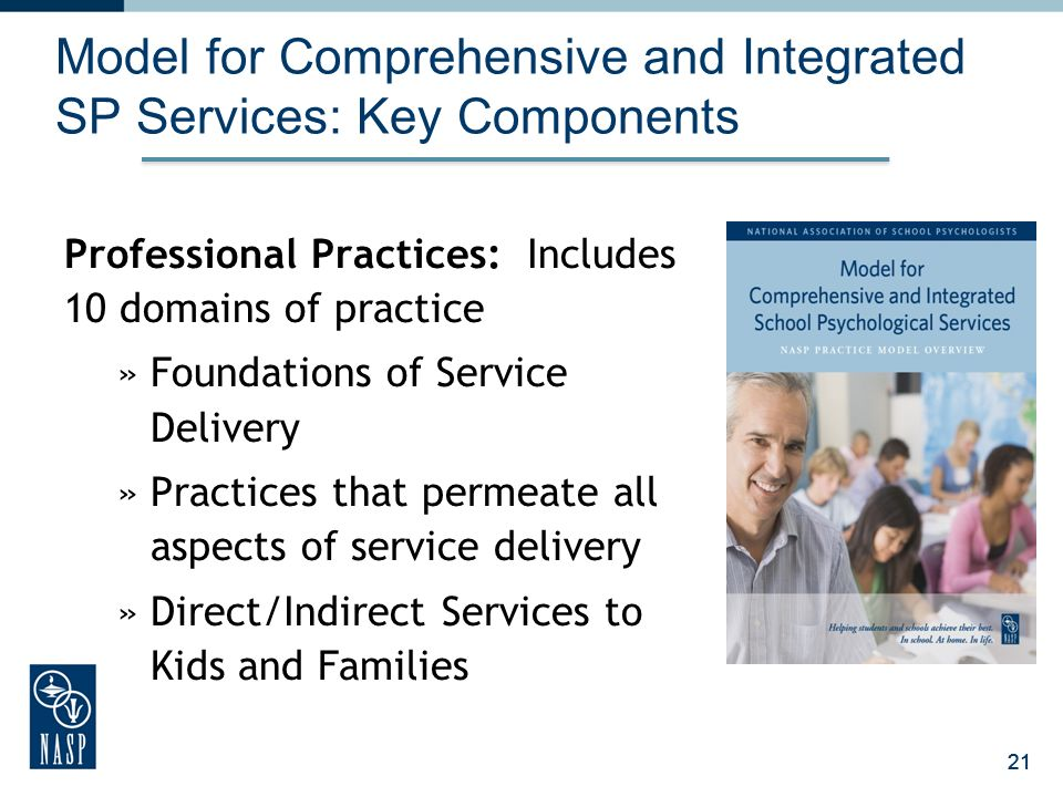 21 Model for Comprehensive and Integrated SP Services: Key Components Professional Practices: Includes 10 domains of practice »Foundations of Service Delivery »Practices that permeate all aspects of service delivery »Direct/Indirect Services to Kids and Families 21