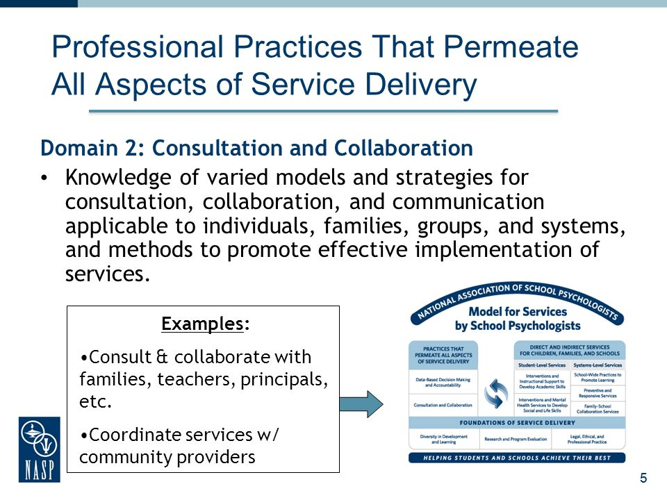 25 Professional Practices That Permeate All Aspects of Service Delivery Domain 2: Consultation and Collaboration Knowledge of varied models and strategies for consultation, collaboration, and communication applicable to individuals, families, groups, and systems, and methods to promote effective implementation of services.