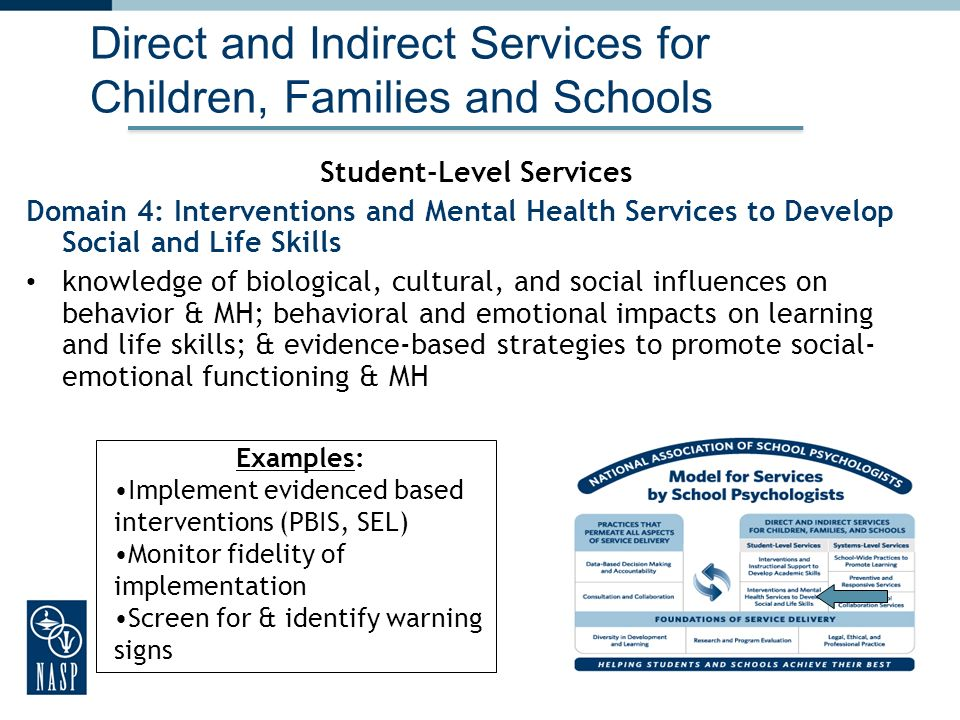 27 Direct and Indirect Services for Children, Families and Schools Student-Level Services Domain 4: Interventions and Mental Health Services to Develop Social and Life Skills knowledge of biological, cultural, and social influences on behavior & MH; behavioral and emotional impacts on learning and life skills; & evidence-based strategies to promote social- emotional functioning & MH 27 Examples: Implement evidenced based interventions (PBIS, SEL) Monitor fidelity of implementation Screen for & identify warning signs