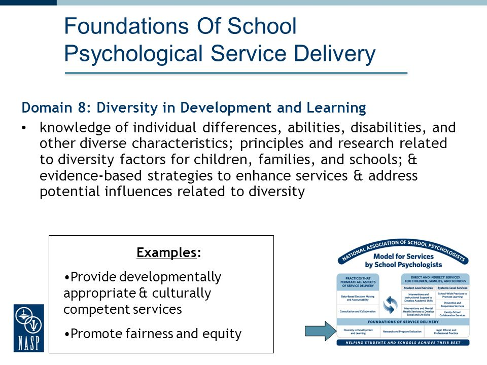 31 Foundations Of School Psychological Service Delivery Domain 8: Diversity in Development and Learning knowledge of individual differences, abilities, disabilities, and other diverse characteristics; principles and research related to diversity factors for children, families, and schools; & evidence-based strategies to enhance services & address potential influences related to diversity 31 Examples: Provide developmentally appropriate & culturally competent services Promote fairness and equity