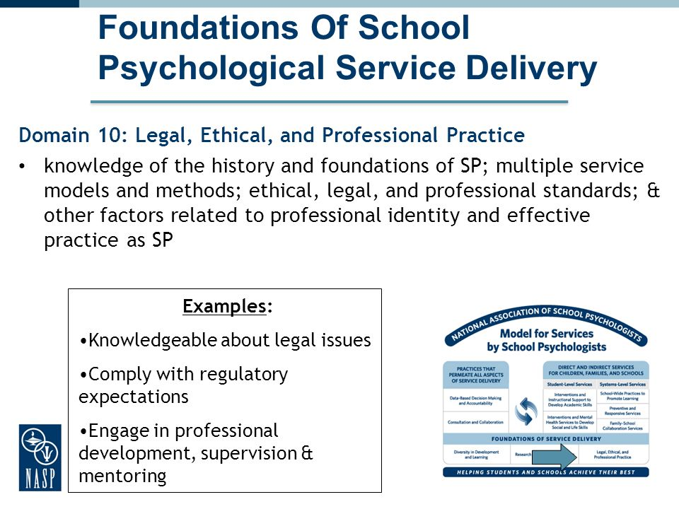 33 Foundations Of School Psychological Service Delivery Domain 10: Legal, Ethical, and Professional Practice knowledge of the history and foundations of SP; multiple service models and methods; ethical, legal, and professional standards; & other factors related to professional identity and effective practice as SP 33 Examples: Knowledgeable about legal issues Comply with regulatory expectations Engage in professional development, supervision & mentoring