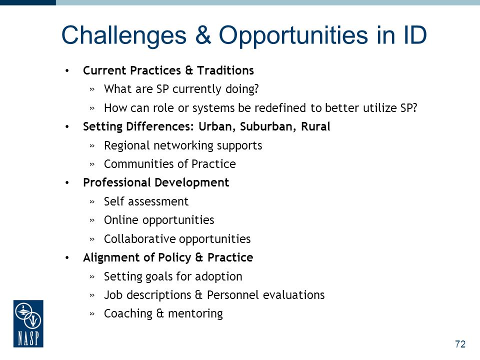 Challenges & Opportunities in ID Current Practices & Traditions »What are SP currently doing? »How can role or systems be redefined to better utilize