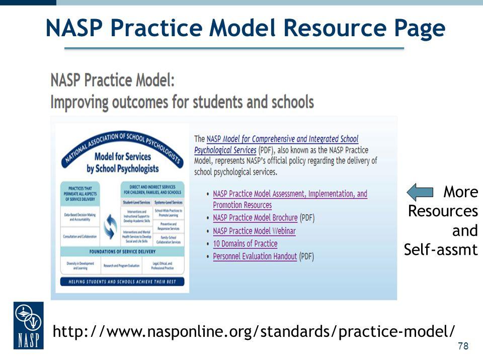 78 http://www.nasponline.org/standards/practice-model/ NASP Practice Model Resource Page More Resources and Self-assmt