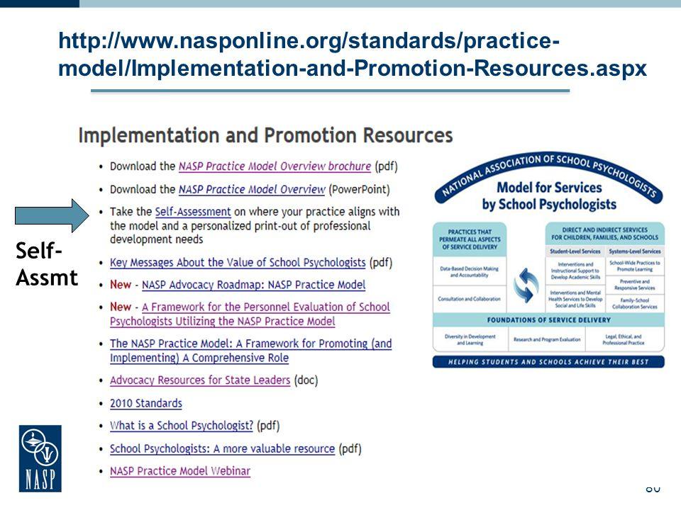 80 http://www.nasponline.org/standards/practice- model/Implementation-and-Promotion-Resources.aspx Self- Assmt