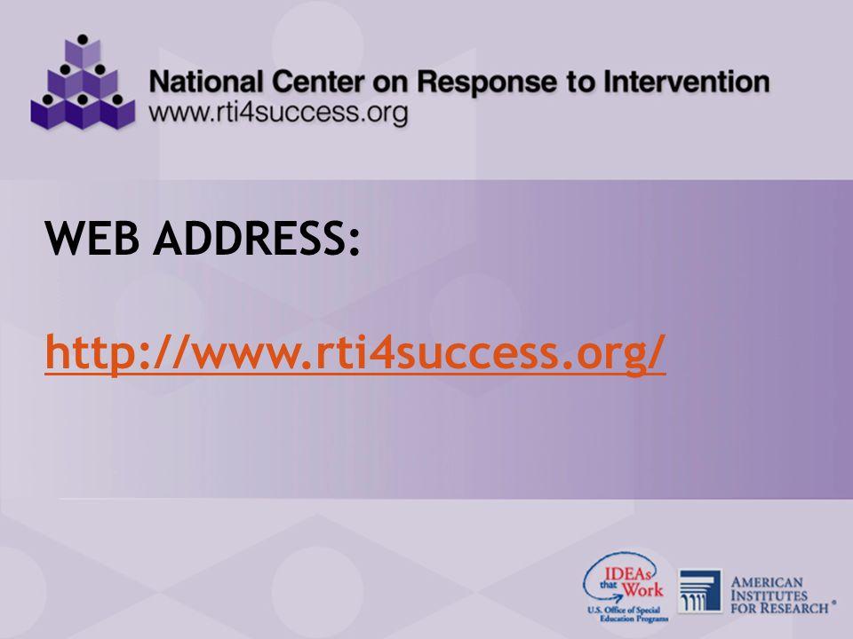 89 RTI Center Presentation for the SPDGs January 27, 2009 WEB ADDRESS: http://www.rti4success.org/