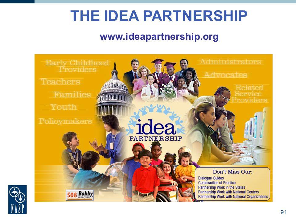 91 THE IDEA PARTNERSHIP www.ideapartnership.org