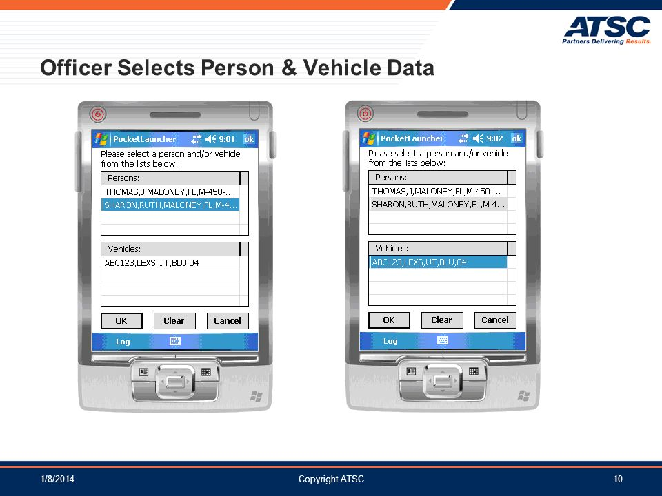 1/8/2014Copyright ATSC10 Officer Selects Person & Vehicle Data