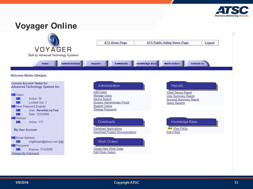 1/8/2014Copyright ATSC13 Voyager Online