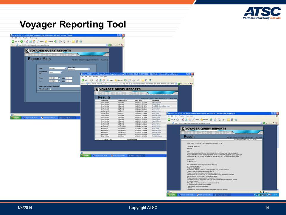 1/8/2014Copyright ATSC14 Voyager Reporting Tool