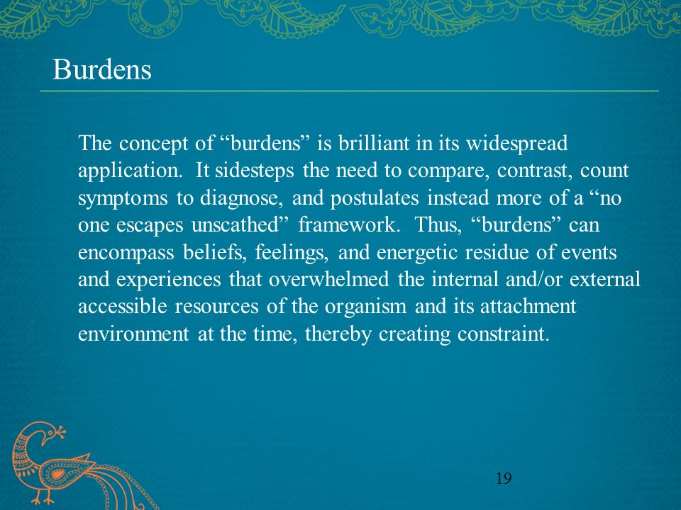 19 Burdens The concept of burdens is brilliant in its widespread application.