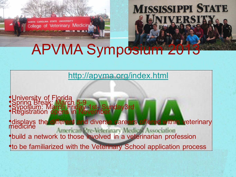 http://apvma.org/index.html APVMA Symposium 2013 University of Florida Spring Break: March 5-9 Syposium: March Friday 1st- Sunday3rd Registration open