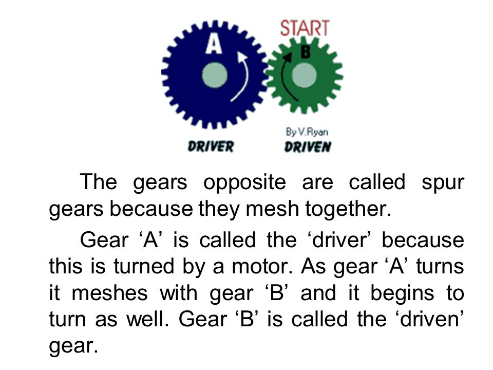 The gears opposite are called spur gears because they mesh together. Gear A is called the driver because this is turned by a motor. As gear A turns it