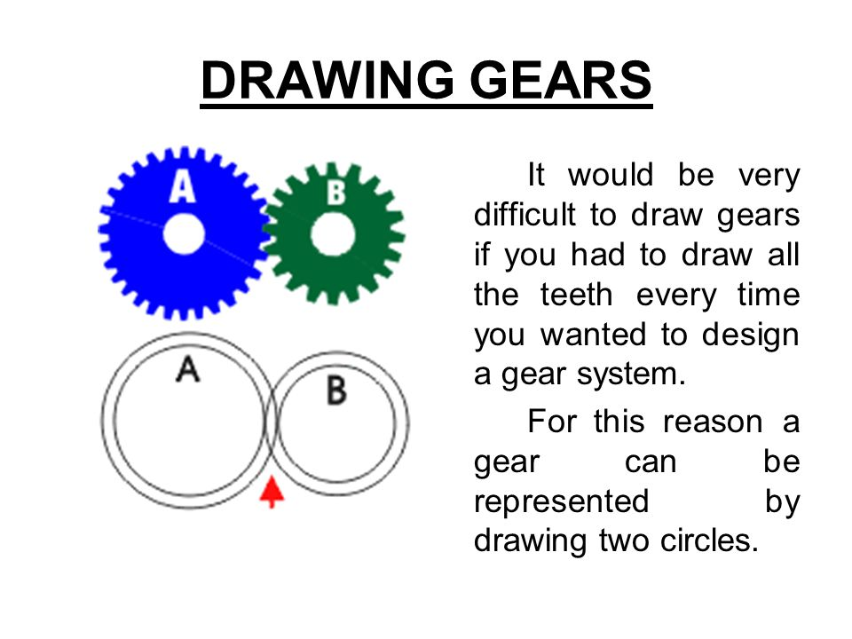 DRAWING GEARS It would be very difficult to draw gears if you had to draw all the teeth every time you wanted to design a gear system. For this reason
