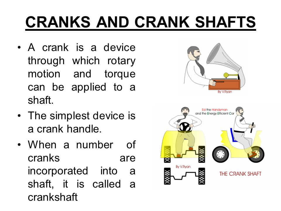 CRANKS AND CRANK SHAFTS A crank is a device through which rotary motion and torque can be applied to a shaft. The simplest device is a crank handle. W