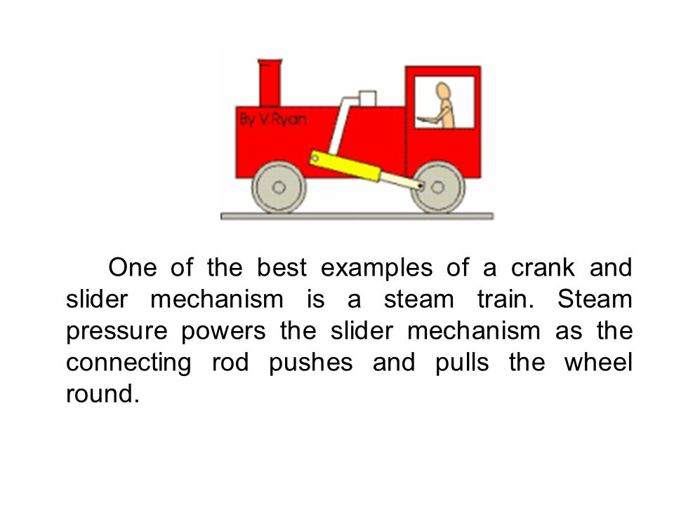 One of the best examples of a crank and slider mechanism is a steam train. Steam pressure powers the slider mechanism as the connecting rod pushes and