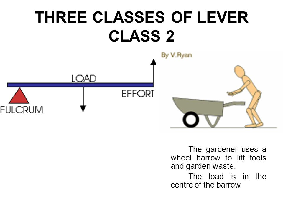 THREE CLASSES OF LEVER CLASS 2 The gardener uses a wheel barrow to lift tools and garden waste. The load is in the centre of the barrow