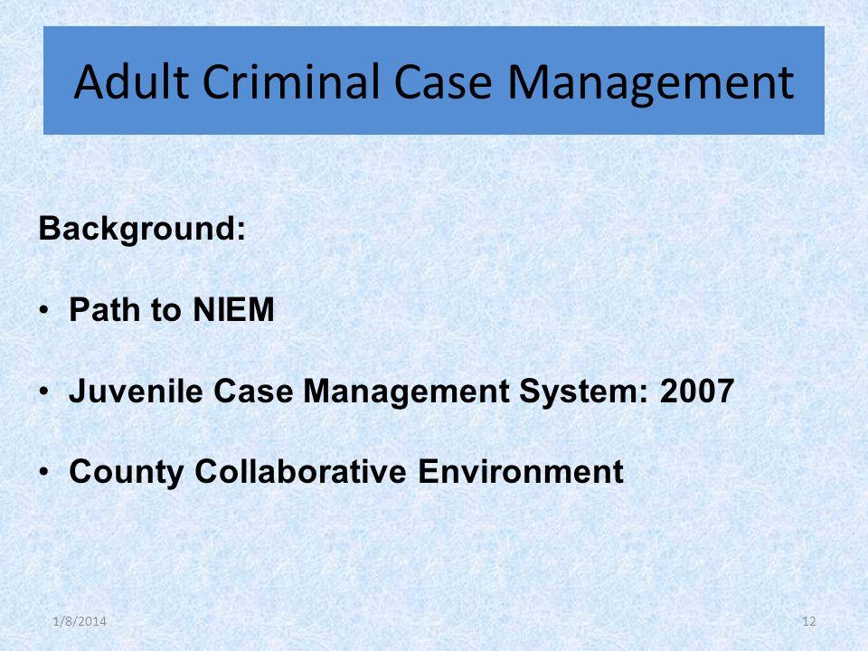 Background: Path to NIEM Juvenile Case Management System: 2007 County Collaborative Environment Adult Criminal Case Management 1/8/201412