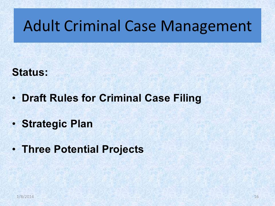 Status: Draft Rules for Criminal Case Filing Strategic Plan Three Potential Projects Adult Criminal Case Management 1/8/201416