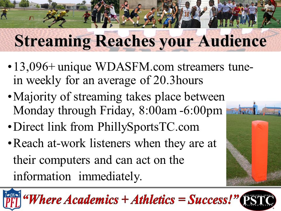 Streaming Reaches your Audience 13,096+ unique WDASFM.com streamers tune- in weekly for an average of 20.3hours Majority of streaming takes place between Monday through Friday, 8:00am -6:00pm Direct link from PhillySportsTC.com Reach at-work listeners when they are at their computers and can act on the information immediately.